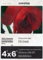 Бумага SkyHorse Super Glossy 250г/м 100л, 152х102мм,  водонепроницаемая