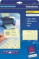 Визитки Avery «желтый мрамор» для струйной и лазерной печати, 200 г/м2, 85 x 54 мм, 25 листов