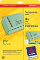 Прозрачные адресные этикетки Avery для струйной печати, 210 x 297 мм, 25 листов