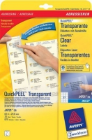 Прозрачные адресные этикетки Avery для струйной печати, 63,5 x 29,6 мм, 25 листов