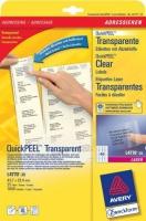 Прозрачные адресные этикетки Avery для лазерной печати, 45,7 x 25,4 мм, 25 листов