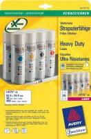 Всепогодные полиэстровые этикетки Avery для лазерной печати, 24 на листе, 63,5 x 33,9 мм