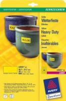 Всепогодные желтые полиэстровые этикетки Avery для лазерной печати, 48 на листе, 45,7 x 21,2 мм