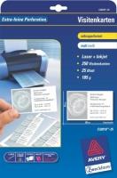 Белые визитки Avery для струйной и лазерной печати, 185 г/м2, 85 x 54 мм, 25 листов