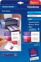 Белые визитки Avery для струйной печати, 250 г/м2, 85 x 54 мм, 10 листов