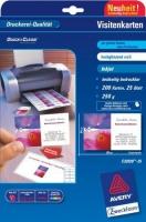 Белые визитки Avery для струйной печати, 250 г/м2, 85 x 54 мм, 25 листов
