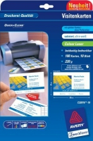 Ультрабелые визитки Avery для лазерной печати, 220 г/м2, 85 x 54 мм, 10 листов