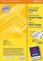 Желтые универсальные этикетки Avery, 1 на листе, 210 x 297 мм