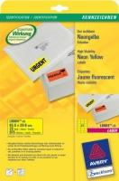 Неоновые этикетки Avery для лазерной печати, 63,5x29,6мм, 20листов, желтые