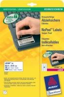 Саморазрушающиеся этикетки Avery для лазерной печати, 24 на листе, 63,5 x 33,9 мм