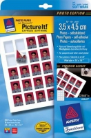 Глянцевая фотобумага Avery Quick&Clean для струйной печати, 3,5 х 4,5 см, А4, 125 г/м2, 10 листов